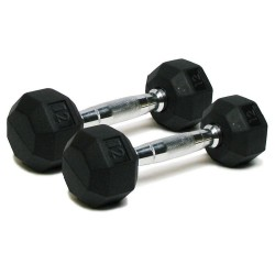 Deluxe Rubber Dumbbells - 12 lb. Pairs