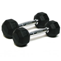 Deluxe Rubber Dumbbells - 25 lb. Pairs