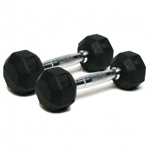 Deluxe Rubber Dumbbells - 5 lb. Pairs